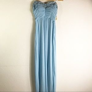 Trixxi strapless light blue prom formal dress gown